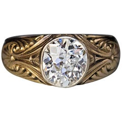 Antique Russian 1.85 Carat Old Mine Cut Diamond Gold  Ring