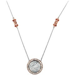 Rose and White Gold Diamond Pendant Necklace