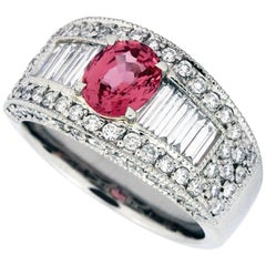 GIA Certified 1.25 Carat Padparadscha Sapphire Baguette Diamond Platinum Ring