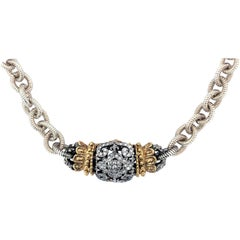 Silver Gold and Diamond Link Chain Necklace