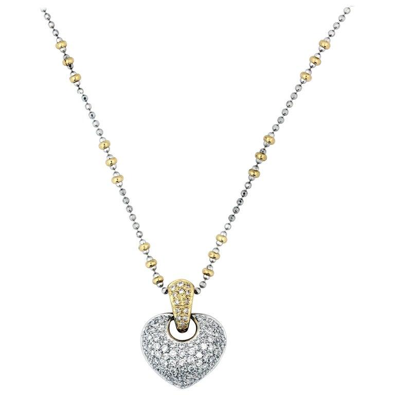 Diamond Gold Heart Pendant Necklace