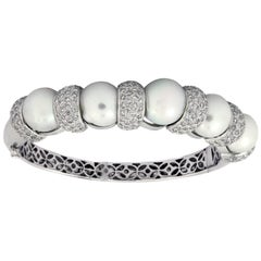 South Sea Pearl Diamond Gold Bangle Bracelet
