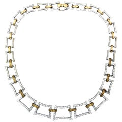 White and Yellow Gold Rectangle Diamond Link Necklace