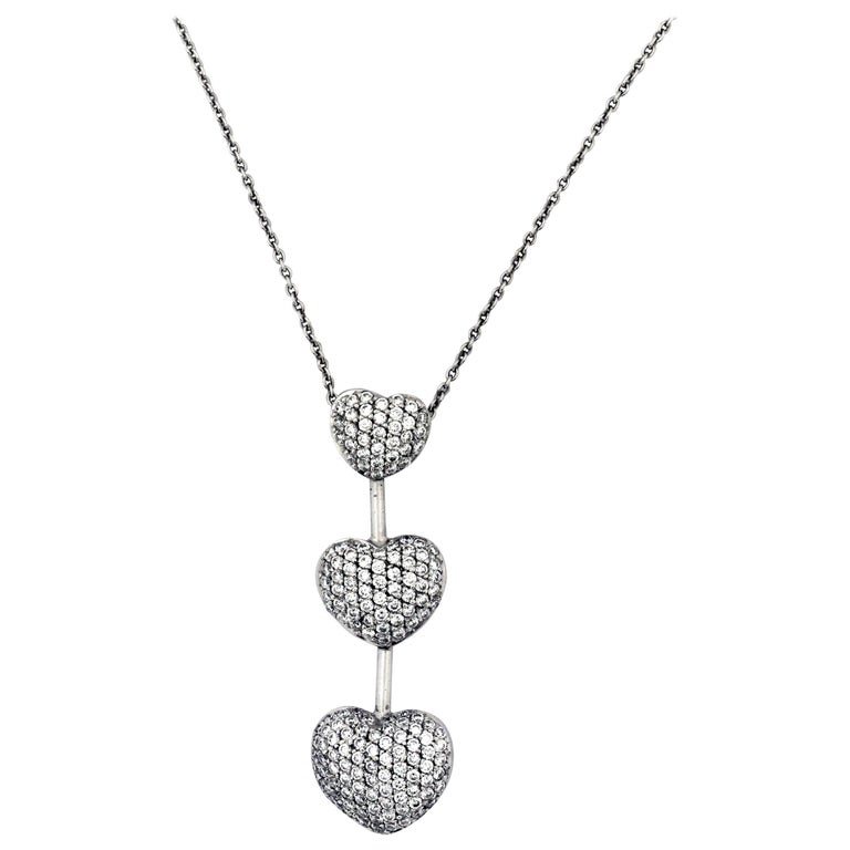Three Heart Drop Diamond Gold Pendant Necklace
