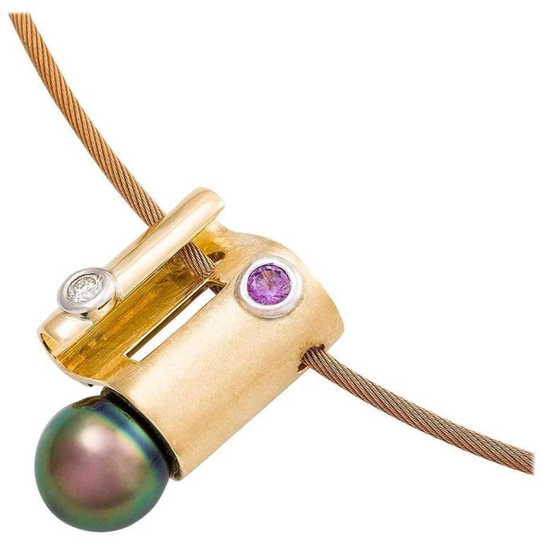 Kian Design 18 Carat Two Tone Gold Magenta Sapphire and Diamond Necklace