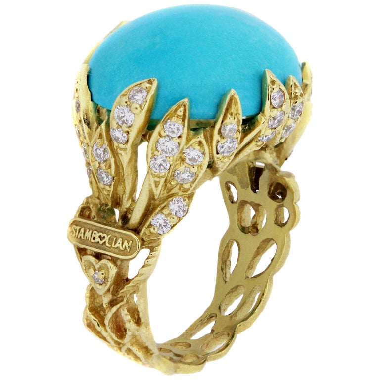 Stambolian Sleeping Beauty Turquoise Diamond Gold Ring