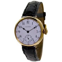 Waltham Yellow Gold Filled Campaign Style Manual Watch, circa 1908