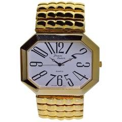 Jacques Gold Plated Couture Fashion Oversized Quartz Wristwatch, circa 1980s