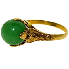 Ladies 18kt Solid Yellow Gold Jade Art Deco Ring Hand Constructed