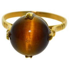 Ladies 18 Kt. Yellow Gold Art Deco Tiger Eye Ring with 10 Millimeter Stone