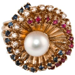 Diamonds Sapphires Rubies Pearl  Rose Gold Spiral Ring