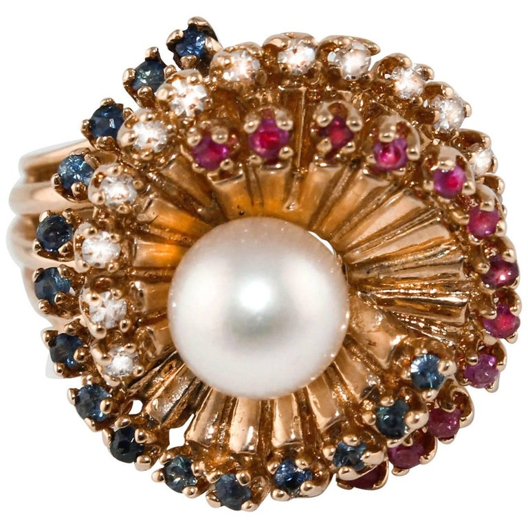 Diamonds Sapphires Rubies Pearl  Rose Gold Spiral Ring  For Sale