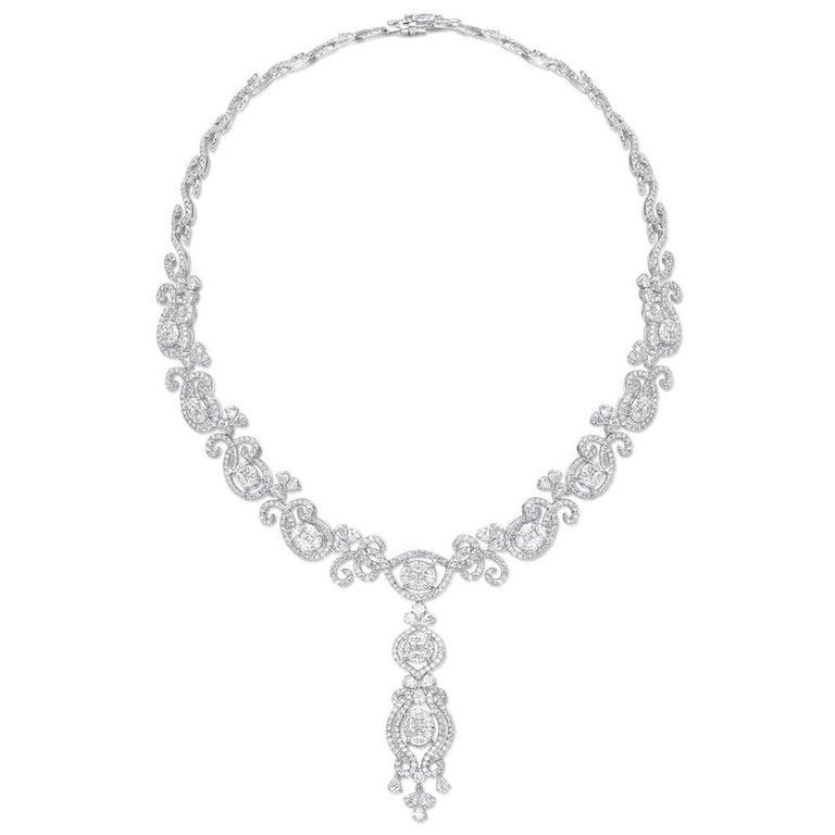 Gilin 18K White Gold Diamond Necklace