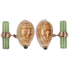 Cypraea Gold Shell Cufflinks with Jade and Sapphires