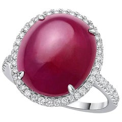 Gilin Ruby Cabochon Diamond Ring