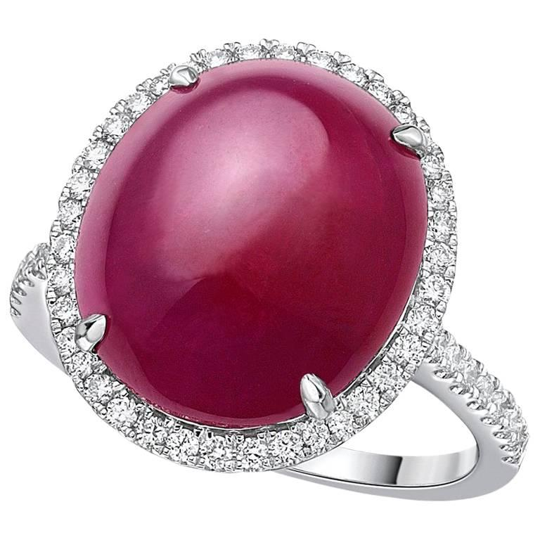 Gilin Ruby Cabochon Diamond Ring For Sale