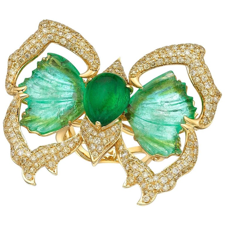 GILIN Paraiba Tourmaline, Emerald Cabochon and Diamond Ring-Pendant