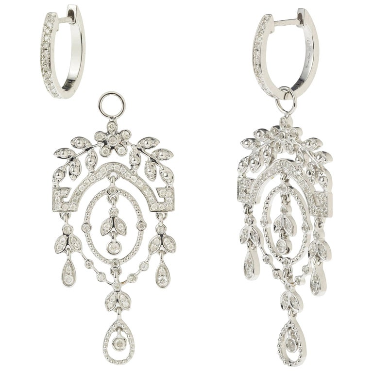Yvonne Leon's Earring in 18 carats White Gold with Diamonds