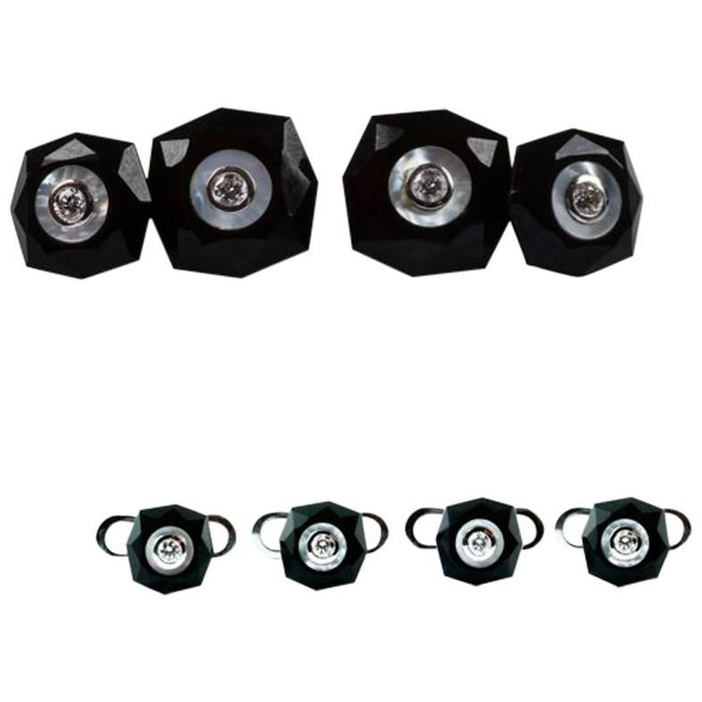 Set with Double Octagonal Cufflinks and Studs in Onyx and Mother of Pearl