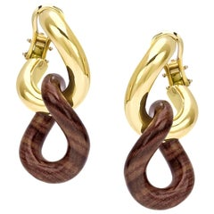 Rose Wood Groumette Pair of Earrings 18 Karat Yellow Gold