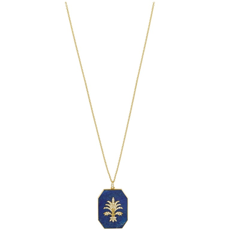 Yvonne Leon's Necklace in 18 carats Yellow gold with Lapiz lazuli and Diamonds