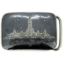 Thai sterling silver and niello belt buckle, Thailand, Siam sterling Nielloware