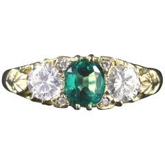 Antique Victorian Emerald Diamond Ring 18 Carat, circa 1880
