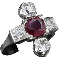 Platinum, Ruby and diamonds French Art Deco Ring
