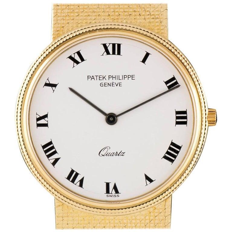 Patek Philippe White Enamel Dial Gold Quartz  Calatrava Wristwatch For Sale