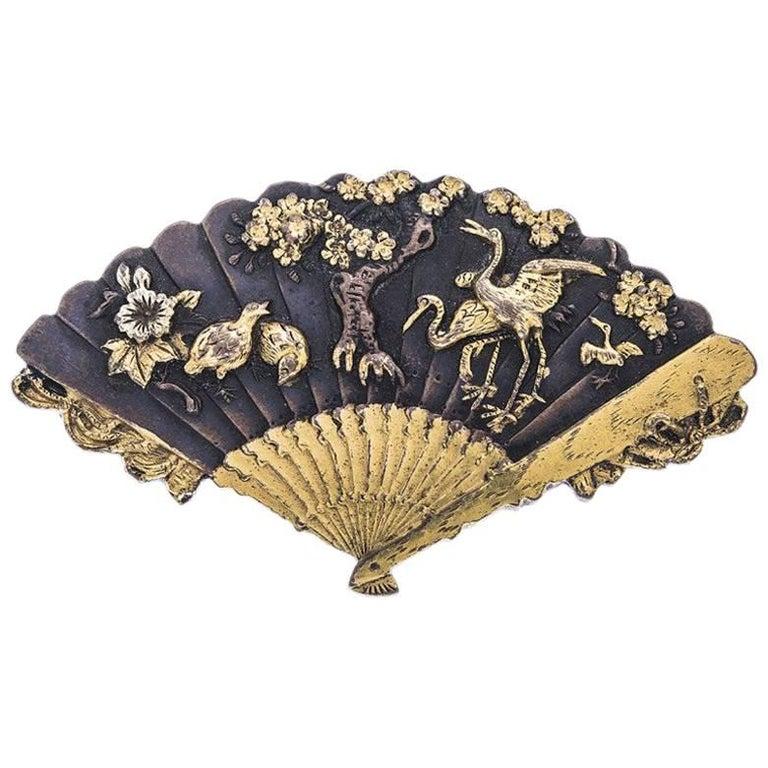 Antique Japanese Shakudo Fan Brooch