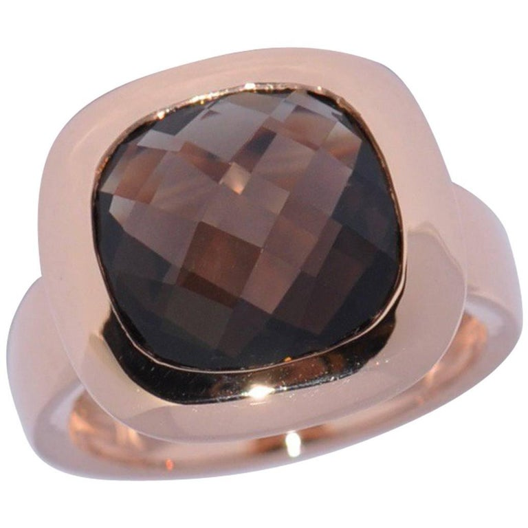 Smoky Quartz and Rose Gold 18 Carat Fashion Ring
