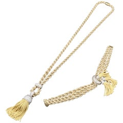 Gold, Platinum and Diamonds French Necklace and Bracelet Set