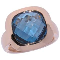 Lagoon Quartz and Rose Gold 18 Carat Fashion Ring