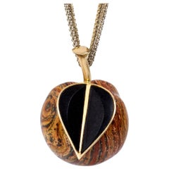 Paul Binder, Jasper, Ebony Rose Gold and Silver Apple Pendant Necklace