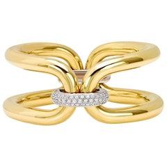 Roberta Collection Bangle 18 Karat Yellow and White Gold and Diamonds
