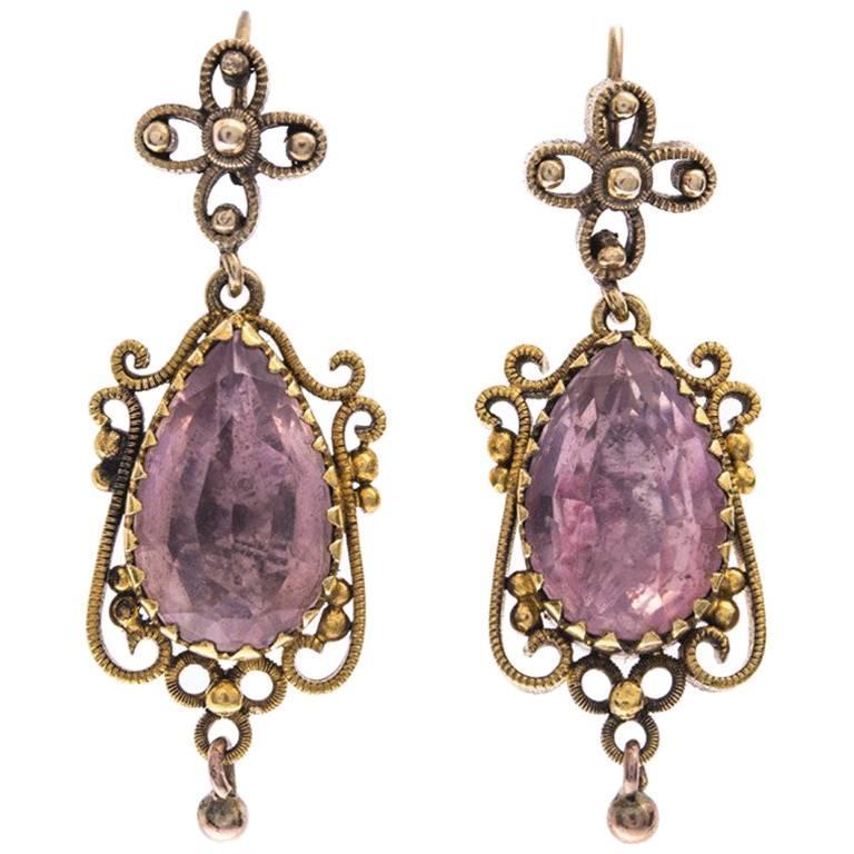 Regency 15 Carat Gold Foil Back Rock Crystal Earrings