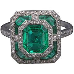 Platinum, Certified Colombian Emeralds and Diamonds French Art Deco Ring