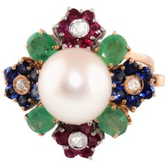 Rose Gold Ring with Diamonds, Precious Stones and Pearls