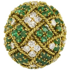18 Karat Yellow Gold Ring with Diamonds and Emeralds