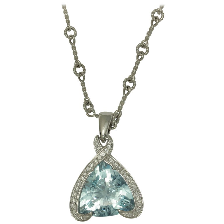 Frederic Sage 10.18 Carat Aquamarine and Diamond One of Kind Pendant Necklace