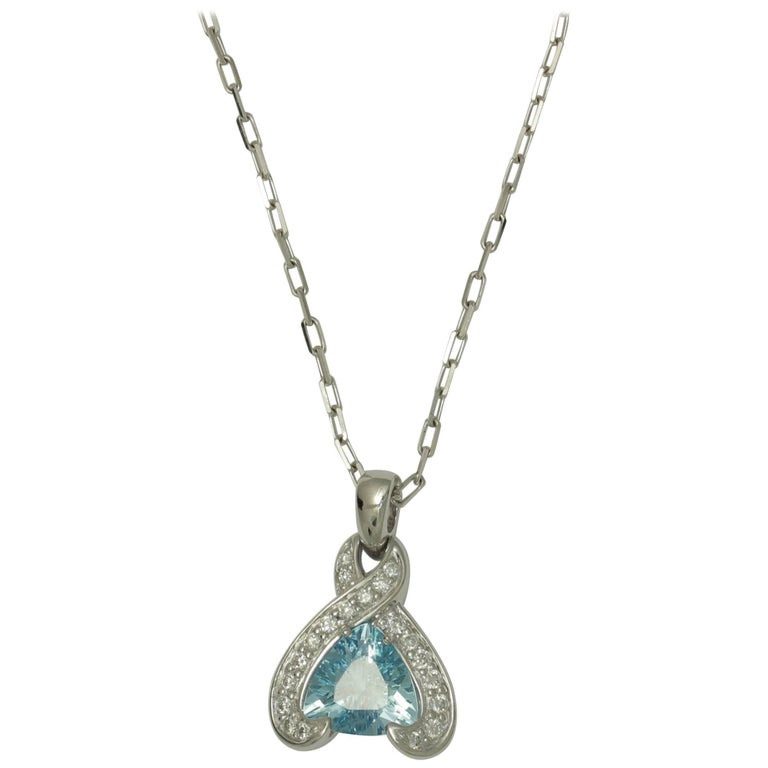 Frederic Sage 1.16 Carat Aquamarine and Diamond Pendant Necklace