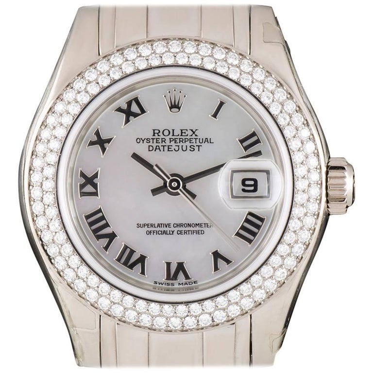 Rolex Unworn Pearlmaster Datejust White Gold MOP Dial 80339 Automatic Watch For Sale