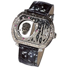 Automatic Wristwatch White Gold White & Black Diamond Ruby Ice Diamond