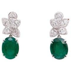 Bespoke 6.5 Carat Emerald and 3 Carat Diamond Pendant Drop Earrings