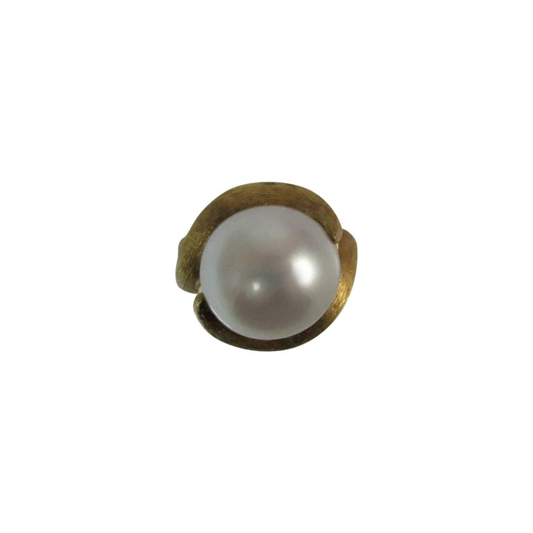 Henry Dunay 18K Yellow Gold Sabi Finish South Sea Pearl Ring