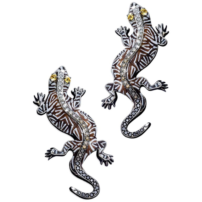 Sicis Gecko White Diamond Brown Diamond Micromosaic Gold Cufflinks