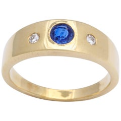 Blue Sapphire and Diamond Band Ring