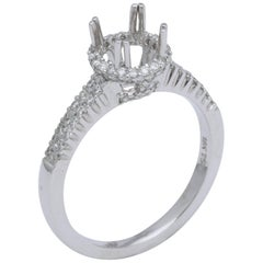 White Gold and Diamond Halo Solitaire Mounting