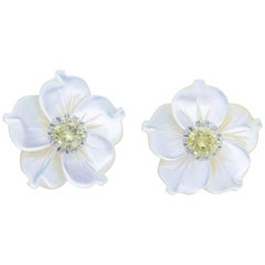 Yellow Diamond Studs with Black and White Mother-of-Pearl Flower Jackets