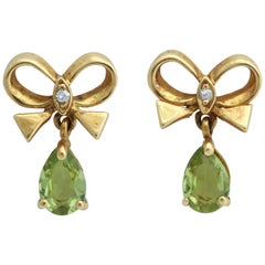 Bow Earrings with Pear Shaped Peridot